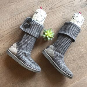 UGG Gray Classic Cardy Sweater Boots EUC!